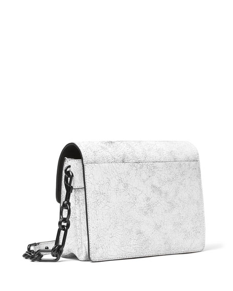 Cate Medium Cracked Shoulder Bag, Optic White