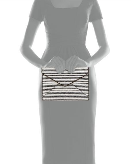 Leo Striped Snake-Embossed Envelope Clutch, Black/White