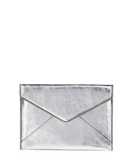 Rebecca Minkoff Leo Metallic Envelope Clutch Bag, Silver