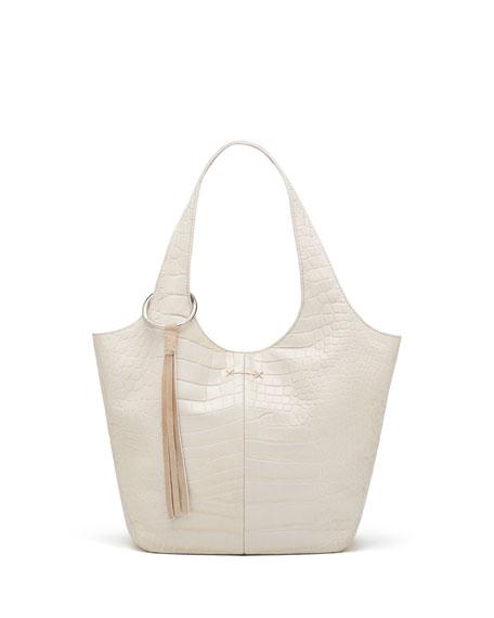 Finley Small Crocodile-Embossed Shopper Bag, Beige