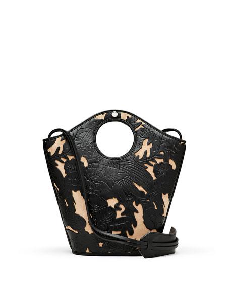 Market Small Leather Shopper Tote Bag, Black/Natural