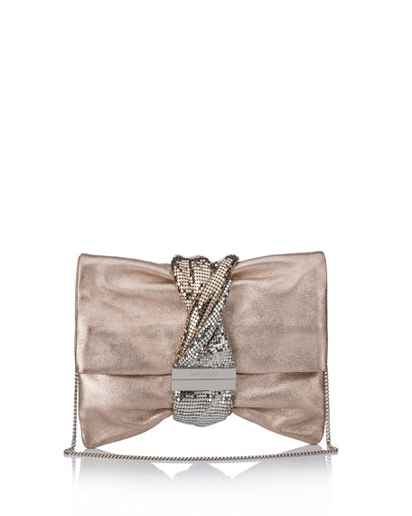 Chandra/M Metallic Clutch Bag, Light Pink