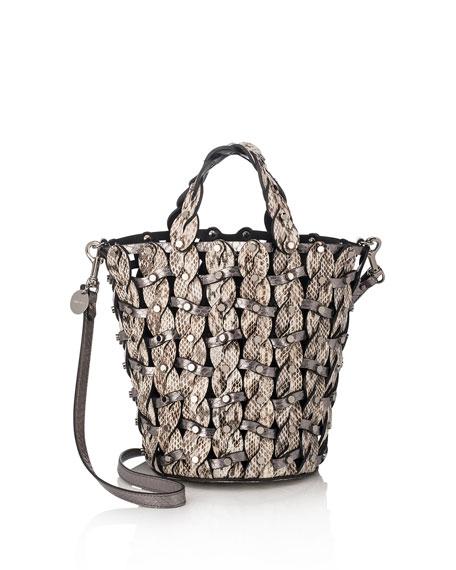 Maxine Woven Snakeskin Tote Bag, Neutral Pattern