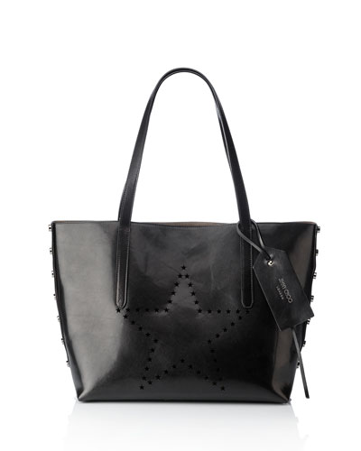 Twist East-West Star Tote Bag, Black