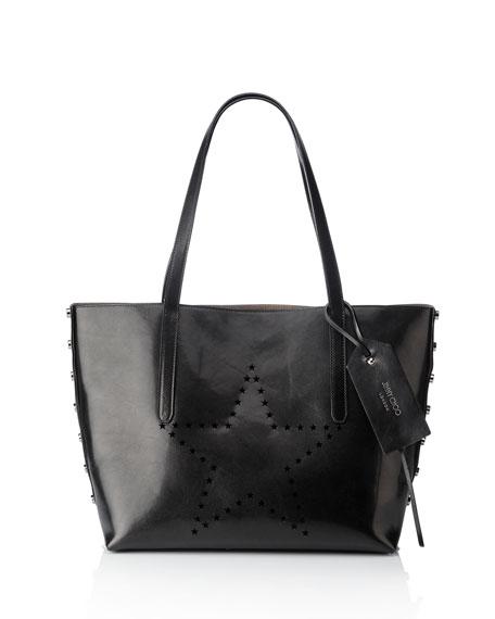 Twist East-West Star Tote Bag, Black