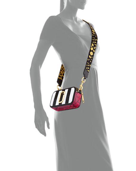 Sequin Stripes Snapshot Crossbody Bag, Black/Multi