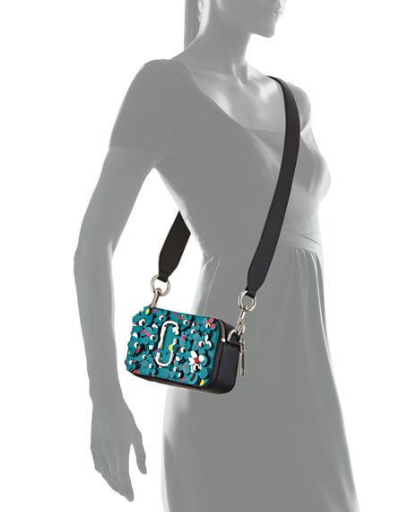 Snapshot 3D Painted Flowers Camera Bag, Turquoise