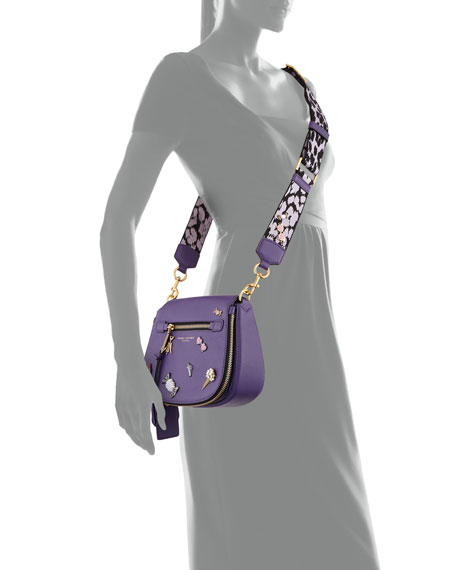Nomad Small Pebbled Leather Crossbody Bag, Violet