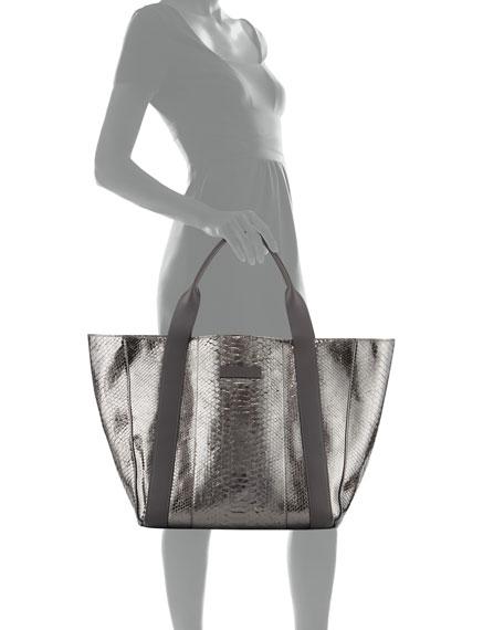 Large Metallic Python Tote Bag, Gray