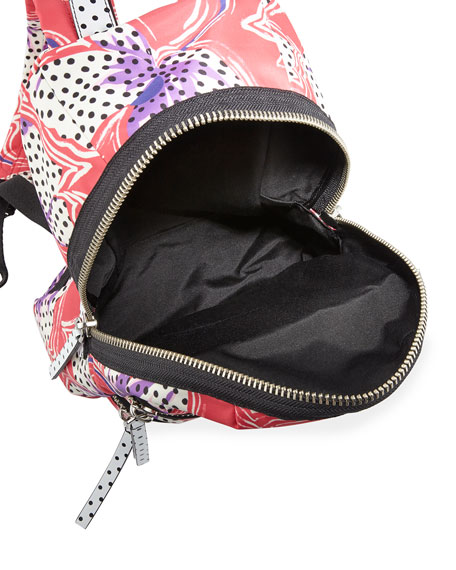 Spotted Lily Printed Biker Backpack, Red/Multi