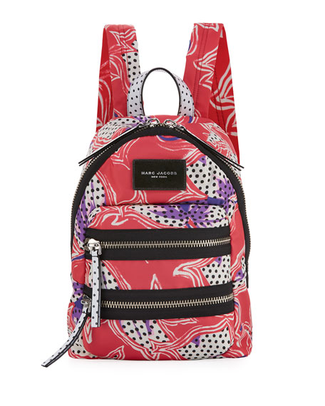 Marc Jacobs Spotted Lily Printed Biker Backpack, Red/Multi