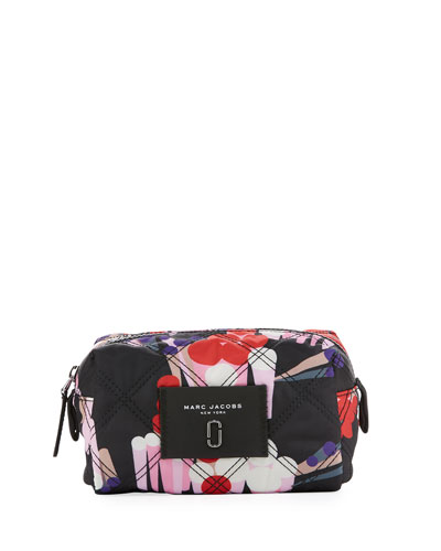 Geo Spot Printed Nylon Cosmetic Bag, Black/Multi