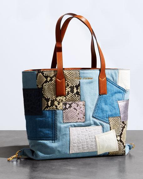 Wingman Denim Patchwork Tote Bag, Multi