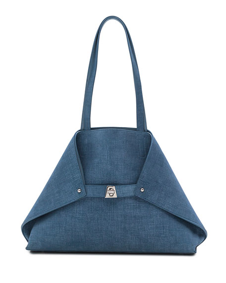 Akris Ai Small Denim-Print Top-Handle Bag, Light Blue