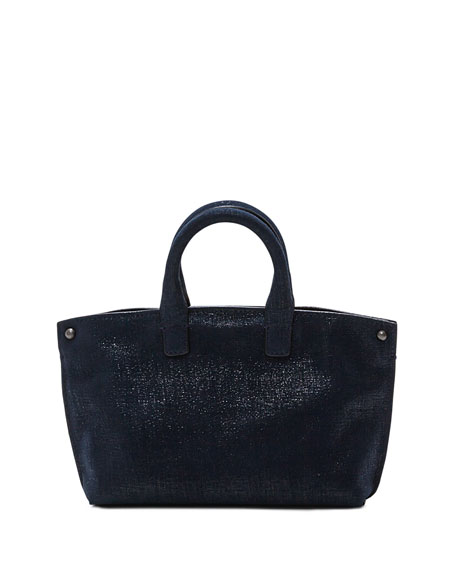 Ai Micro Denim Lamé Messenger Bag, Blue