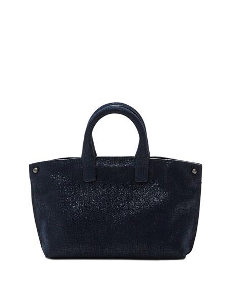Ai Micro Denim Lamé Messenger Bag, Blue