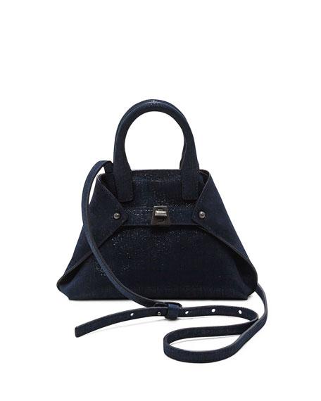 Akris Ai Micro Denim Lamé Messenger Bag, Blue