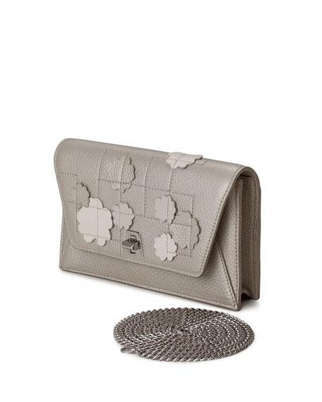 Anouk Buttercup-Embellished Envelope Clutch Bag, Light Beige