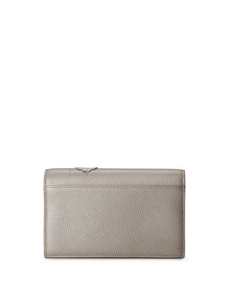 Anouk Buttercup-Embellished Envelope Clutch Bag, Light Beige