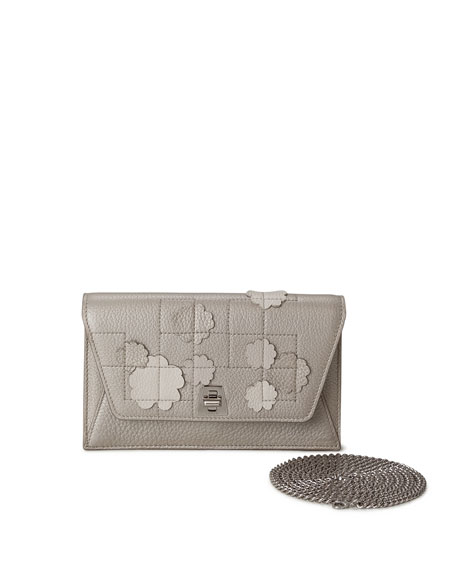 Akris Anouk Buttercup-Embellished Envelope Clutch Bag, Light