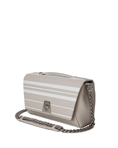 Anouk Striped Leather Day Bag, Off White