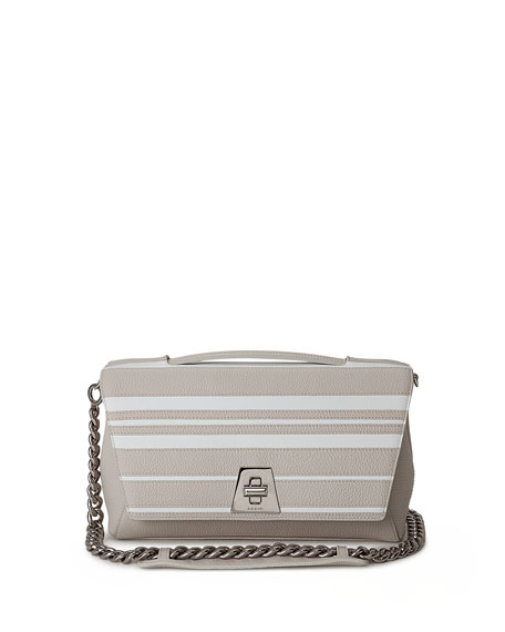 Anouk Striped Leather Day Bag, Off White by Akris