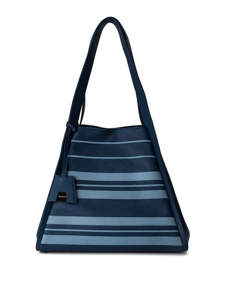 Alex Medium Striped Leather Tote Bag, Blue Pattern