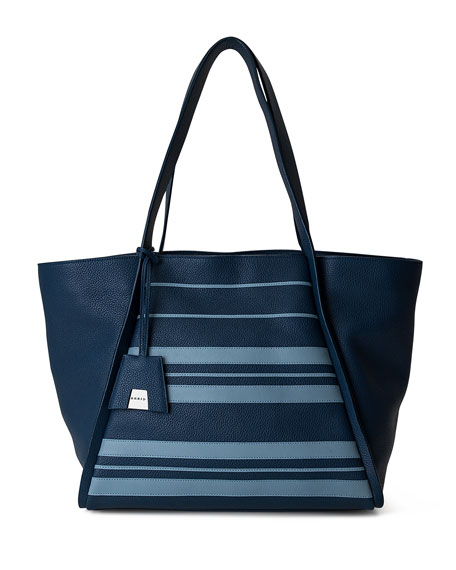 Akris Alex Medium Striped Leather Tote Bag, Blue