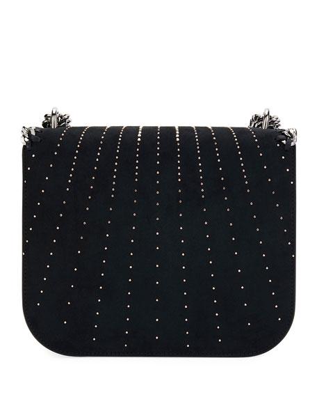 Beaded Eco Faux-Suede Crossbody Bag, Black
