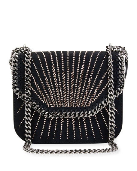 Stella McCartney Beaded Eco Faux-Suede Crossbody Bag, Black