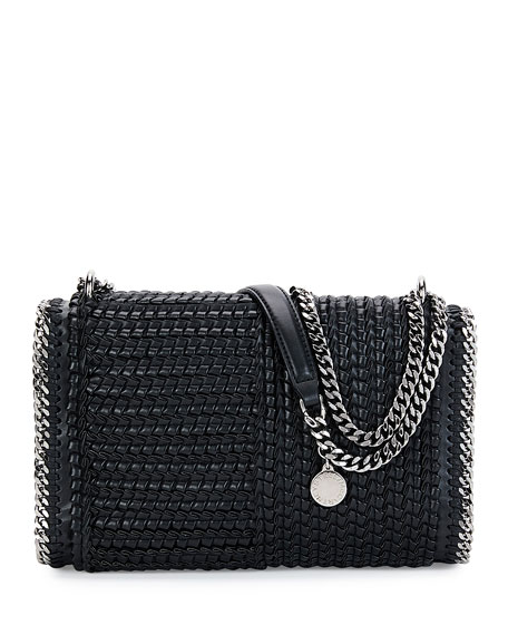 Falabella Eco Woven Patchwork Shoulder Bag, Black