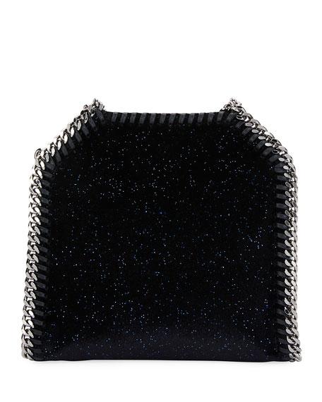 Falabella Tiny Glitter Velvet Tote Bag, Black/Blue