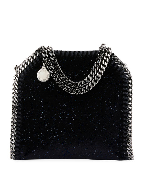 Stella McCartney Falabella Tiny Glitter Velvet Tote Bag,