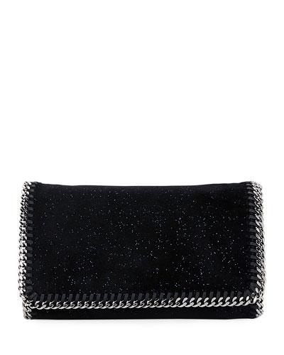 Falabella Glittered Crossbody Bag, Black/Blue