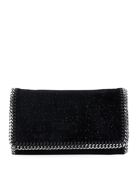 Stella McCartney Falabella Glittered Crossbody Bag, Black/Blue