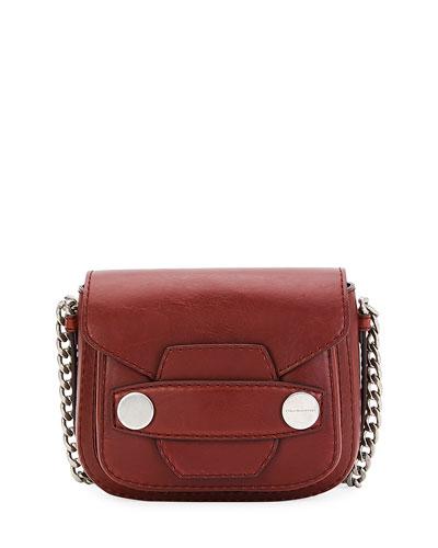 Popper Medium Faux-Leather Crossbody Bag, Brick