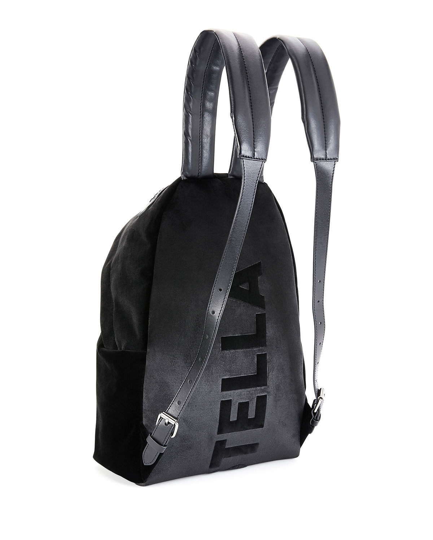 21a516af30ec6 Stella McCartney Falabella Go Medium Velvet Backpack, Black   Neiman Marcus
