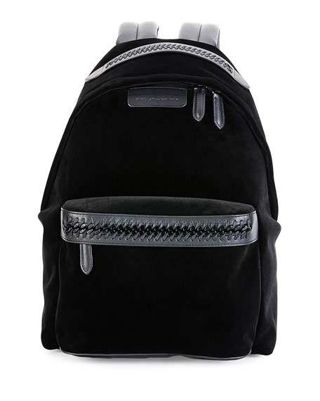 Falabella Go Medium Velvet Backpack, Black by Stella Mc Cartney