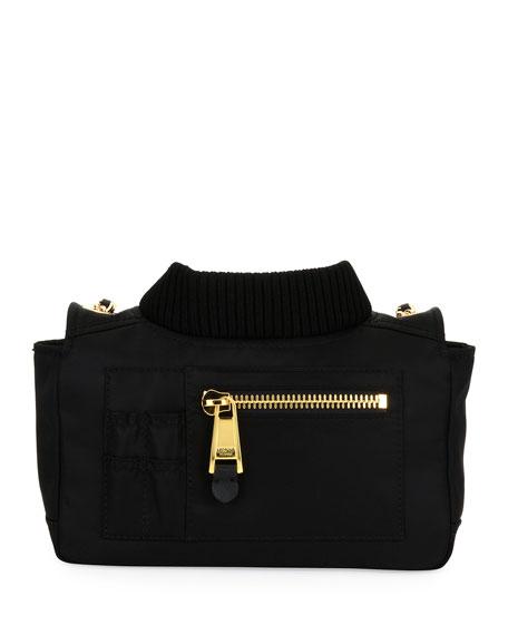 Biker Woven Chain Shoulder Bag, Black