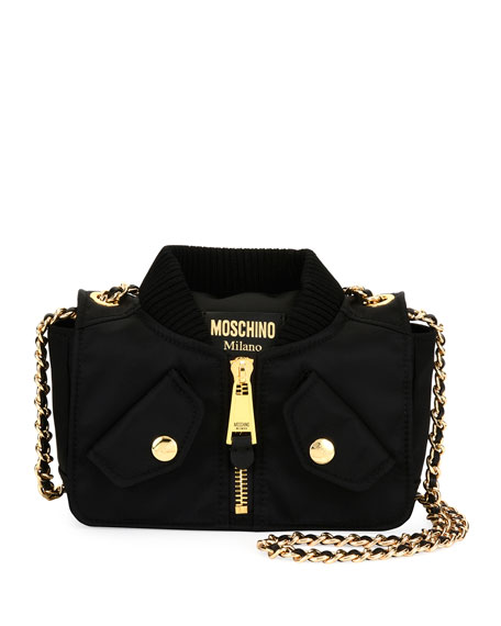 Moschino Biker Woven Chain Shoulder Bag, Black
