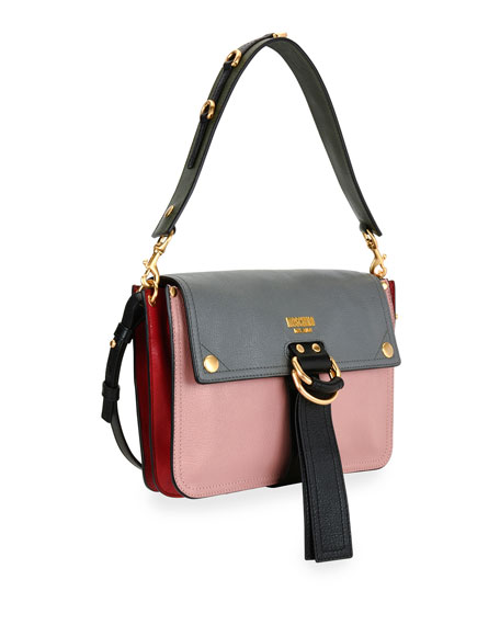 Colorblock Flap Shoulder Bag, Pink/Gray