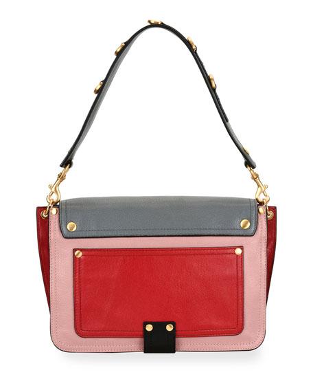 Colorblock Flap Shoulder Bag, Pink/Gray