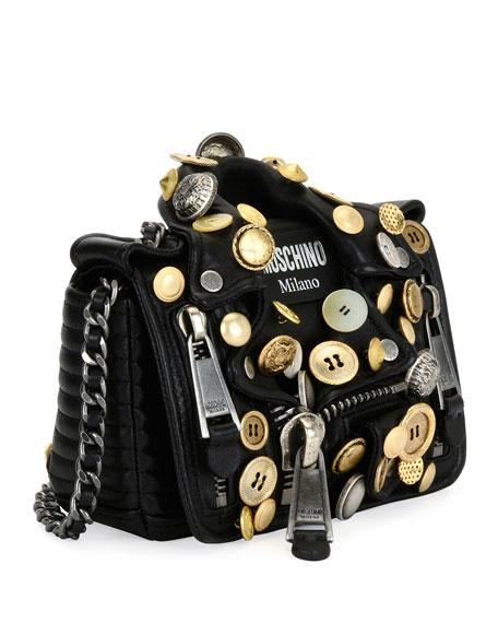 Biker Button Shoulder Bag, Black