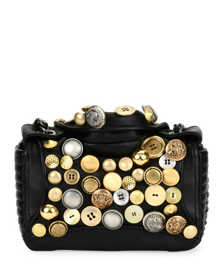 Biker Button Shoulder Bag, Black