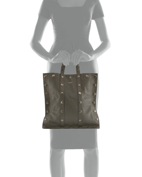 Large Snap Leather Tote Bag