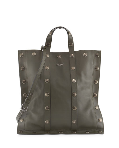 Moschino Large Snap Leather Tote Bag