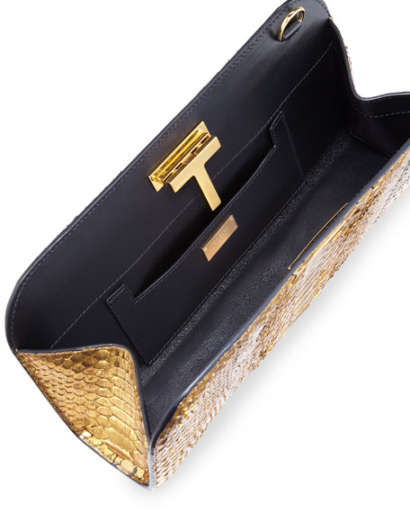T-Lock Medium Metallic Python Clutch Bag