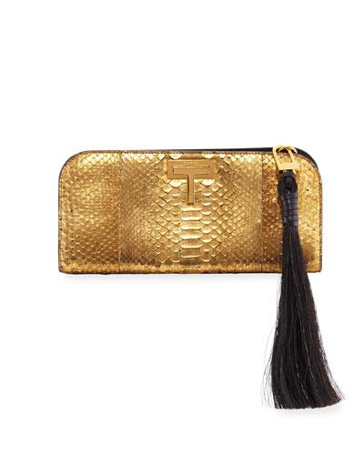 T-Lock Medium Metallic Python Clutch Bag