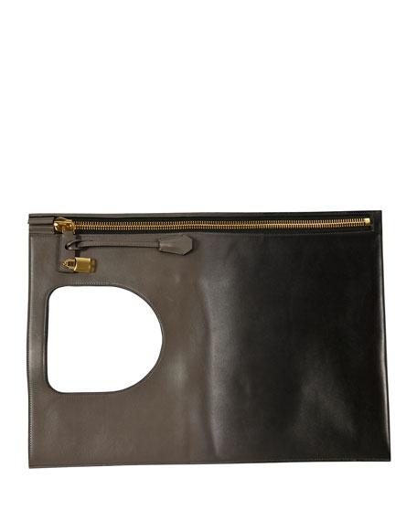 Alix Ombré Fold-Over Bag, Light Gray