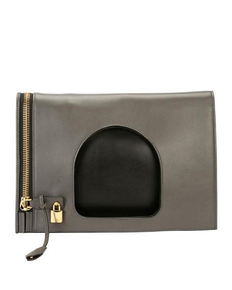 TOM FORD Alix Ombr?? Fold-Over Bag, Light Gray